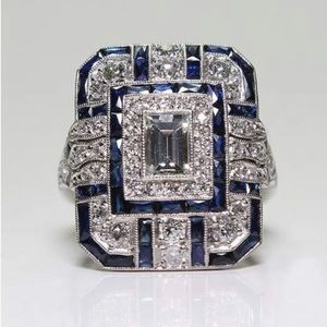 Sterling Silver Blue Sapphire Diamond Ring